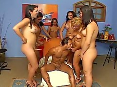 Vicious shemales gangbang a lucky stud