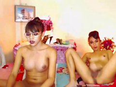 Two Horny Trannies Strip and Masturbate