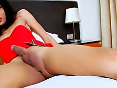 Small tits brunette shemale Bell B handjobs her cock in bed