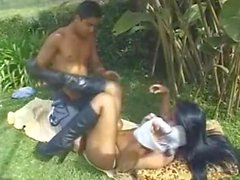 Sex on the grass with a skilful latina TS