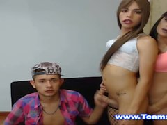 Two hot Tranny in Threesome with Dude