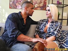 Hot tranny Domino Presley knows how to pleasure this stud
