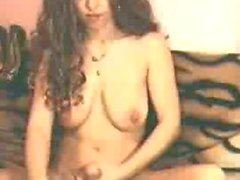 Brunette tranny stroking his dick