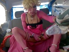 "My Session ""Parking"" Curbside in Pink/Black Hooker Costume, 6"" Heels 1/2"
