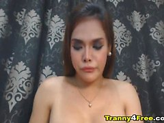 Hot Ladyboy Faps Her Dick Hard
