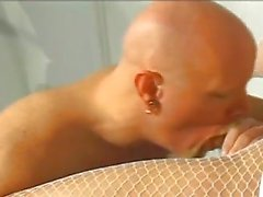Blonde sexy nurse bonking bald man