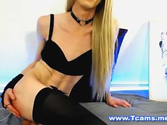 Skinny Blonde Tranny Loves Pain and Pleasure