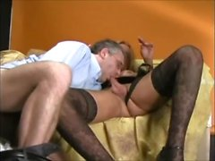 Tall, Blonde Magnificent Julianne In Lingerie Dances On Chubby Guy's Cock