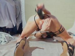 Big Dicked Tgirl Cums While Riding Fat Dildo