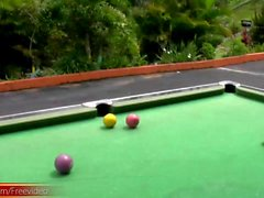 Bigtitted Tgirl fondles bigtits and jacks off on pool table