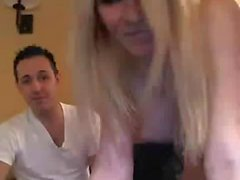 Webcam fun with a blond Tgirl