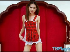 Cute ladyboy takes hard man meat in her ass on the bed