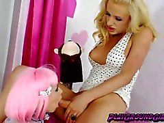 Lovely chicks Juliette Stray and Sparky Sin Claire making out