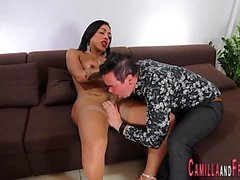 Tranny jizzes over dude