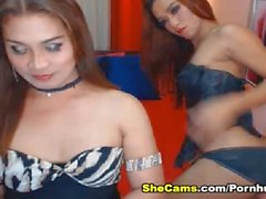 Two Shemale Jerks and Fuck so Hard on Cam