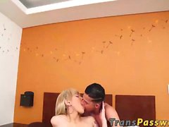 Amazing blonde shemale Andrea Mora rides cock like a pro