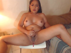 Chubby Asian TS cammer tugging Small Hard Cock