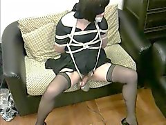 CD bondage hands free masturbation