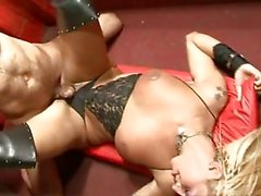 Sexy blonde in lingerie riding