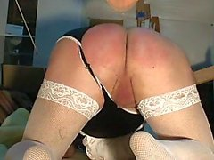 Shemale with a very small cock cums after spanking