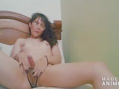Young and beautiful Colombian shemale cum with her feet - Angeles del Mar