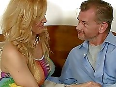 Busty blonde TS Gianna Rivera anal group sex