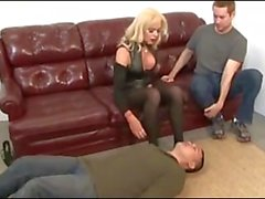 Blonde Shemale fucks bareback Two Guys