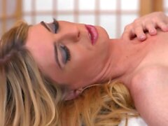 Pretty ts MILF Mandy Mitchell jerks and blows dudes bigcock