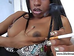 Shemale in stockings masturbating after smoking