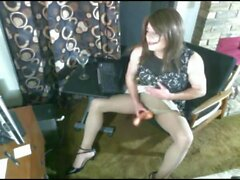 Crossdresser in Pantyhose Spreads Legs to Pet Herselfp