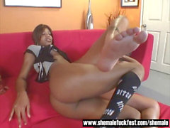 Black Shemale With a BBC dominates a shaven teddy - Shemale tear up Fest