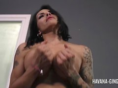 Havana fucks her shemale friend Foxxy with a strapon