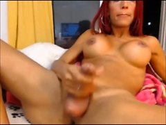 Ginger ladyboy ejaculates a load of jizz on h