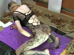 Bodystocking in roses, riding on huge bbc