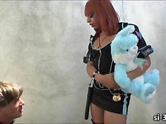Domme shemale cop Sasha Strokes fucks thief for punishment