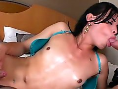 Small tits shemale Ruby Branca ass boned
