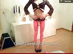 Hot crossdresser showing cock