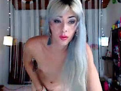 Solo tranny with small tits jerking off