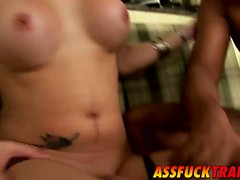 Shemale hottie Kalena Rios bangs with a horny stud Kaio
