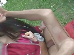 Tgirl rams a dude outdoors