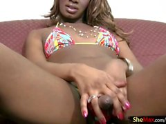 Black shegirl strokes in bikini and sucks white cock in POV
