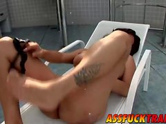 Busty and horny shemale Penelope Jolie fucks sexy dude