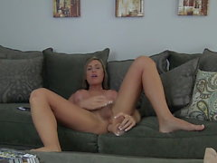 Hot tranny having fun with a dildo