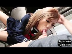 Japanese School Tgirl Monster Cumshot!