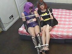 Batman CosPlay Parody with BBC Batman, Chastity Sissy BatGirl and Latex Hit Girl