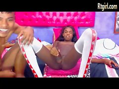 amazing ebony tgirl having sex fun with her boyfriend
